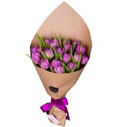 Букет фиолетовых тюльпанов 15шт.