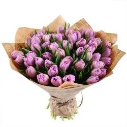 Букет фиолетовых тюльпанов 51шт