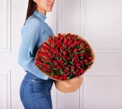 """Букет тюльпанов """"Красный"""" 101 шт."""