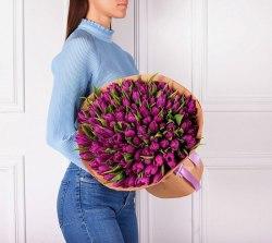 """Букет тюльпанов """"Фиолетовый"""" 101 шт."""