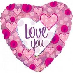 """Фольгированный шар с гелием """"Сердце, Я люблю тебя (розовые сердечки)"""" 18″/46 см"""