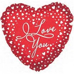 """Фольгированный шар с гелием """"Сердце, Я люблю тебя (водопад сердец)"""" 18″/46 см"""