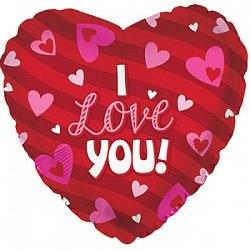 """Фольгированный шар с гелием """"Сердце, Я люблю тебя (сердечки)"""" 18″/46 см"""