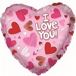 """Фольгированный шар """"Сердце, Я люблю тебя (сердечки на розовом)"""" 18″ (46 см)"""