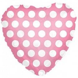 """Фольгированный шар с гелием """"Розовое сердце в белый горошек"""" 18″/46 см"""