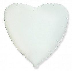 """Фольгированный шар с гелием """"Белое Сердце"""" 18″/46 см"""