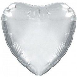 """Фольгированный шар """"Серебряное Сердце"""" 18″ (46 см)"""