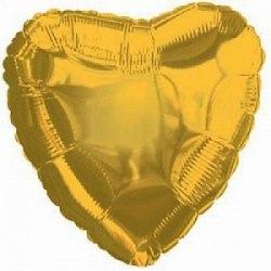 """Фольгированный шар с гелием """"Золотое Сердце"""" 18″/46 см"""