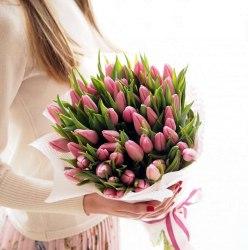 """Букет тюльпанов """"Розовенький"""" 51шт"""