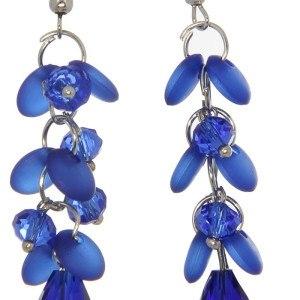 Серьги Виолетта цвет синий капля с кружочками 108015