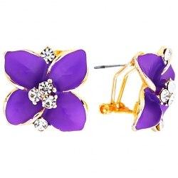 """Серьги MIA collection """"Цветок"""" фиолетовый"""