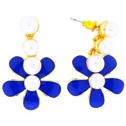 "Серьги Laetitia Moreau ""Цветок"" синий"