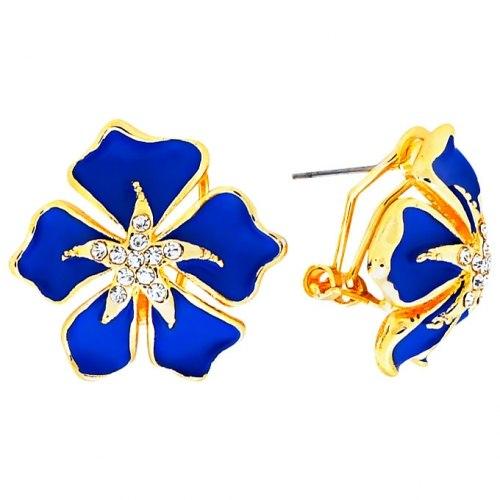 """Серьги MIA collection """"Цветы"""" синие"""