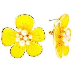 """Серьги Laetitia Moreau """"Цветок"""" желтый"""