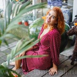 Платье-халат Jessie Long бордовое в горошек