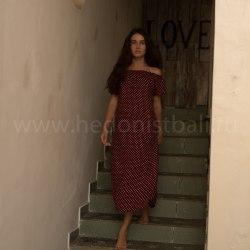 Платье с открытыми плечами Betty бордовое в горошек