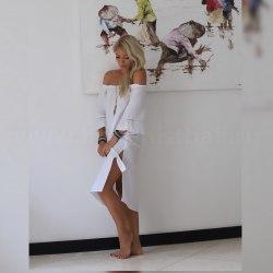 Платье с объемными рукавами VALENTINA белое