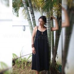 Платье на тонких бретельках МINO макси черное