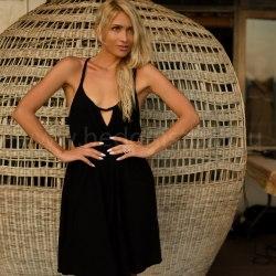 Платье на тонких бретельках МINO миди черное