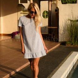 Платье с воланом CANDY голубое S/M