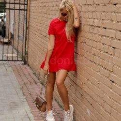 Платье с воланом CANDY красное S/M