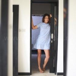 Платье с воланом CANDY голубое M/L