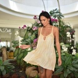 Платье на тонких бретельках МINO мини кремовое