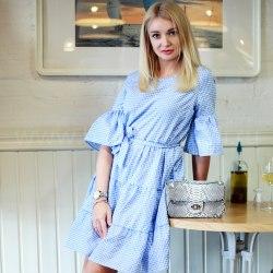 Платье с воланами DOLL голубое