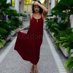 Платье на тонких бретельках МINO макси бордовое
