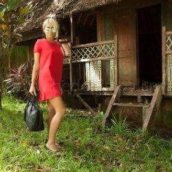 Платье с воланом CANDY красное M/L