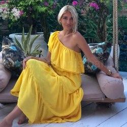 Платье с открытыми плечами FLOW желтое