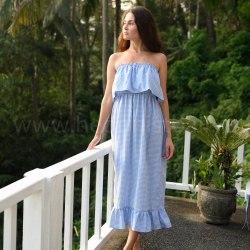 Платье с открытыми плечами ESMERALDA maxi голубое