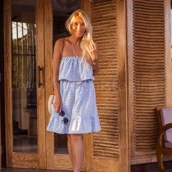 Платье с открытыми плечами ESMERALDA midi голубое