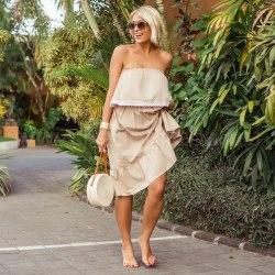 Платье с открытыми плечами ESMERALDA midi кремовое