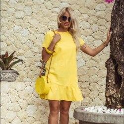 Платье с воланом CANDY желтое M/L
