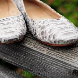 Балетки из натуральной кожи питона натуральный цвет без покраски 38