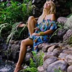 Платье с открытыми плечами GYPSY бирюзовое