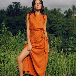 Платье с поясом AGLEA терракота