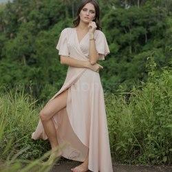 Платье-халат RACHEL длинное розовое