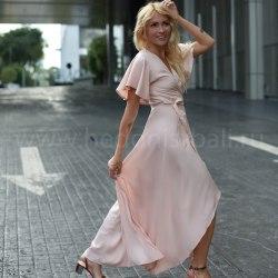 Платье на запах RACHEL длинное розовое