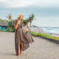 Платье-халат RACHEL длинное леопард