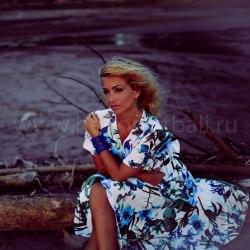 Платье-халат RACHEL длинное белое с синими цветами