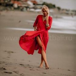 Платье-халат SANDRA красное