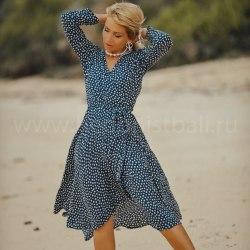 Платье-халат STEFANIA синее с орнаментом