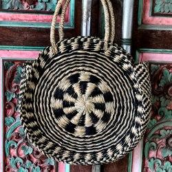 Сумка плетеная MOON черная с натуральным