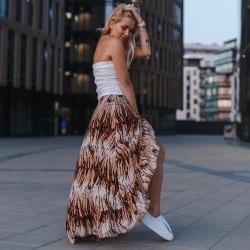 OLIVIA юбка на запах с тигровым принтом коричневая
