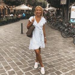 Платье GRETA белое в горох