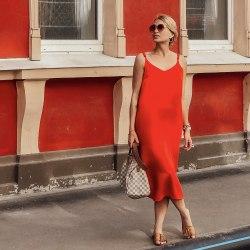 Платье на бретелях WENDY long красное S/M