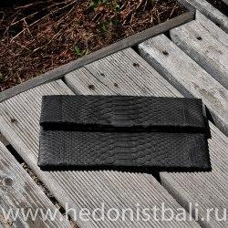 Клатч из натуральной кожи питона черный размер S