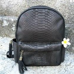 Рюкзак из натуральной кожи питона черный